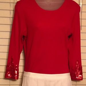 Pull-over shirt, red, w/ embellished sleeves, M